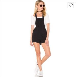 RVCA black seamless short overalls